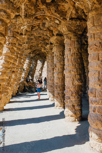 Leinwand Poster Caves and colonnades in Parc Guell Barcelona