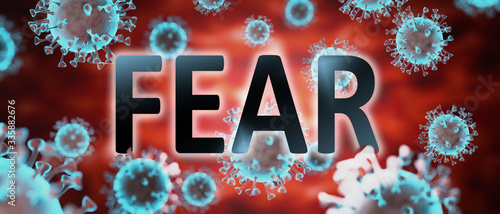 Canvas covid and fear, pictured by word fear and viruses to symbolize that fear is rela