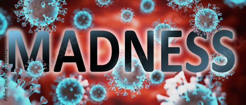 covid and madness, pictured by word madness and viruses to symbolize that madnes Tableau sur Toile