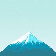 Pixel Fuji Mountain At Sunset....
