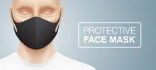 Man With A Trendy, Black Protective Face Mask, Standing On A Grey Gradient Background. Closeup Shot Of A Person, With A Virus Protection Mask On His Face. Healthcare Banner Vector Design.