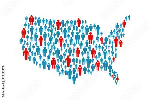 Fényképezés USA pandemic map of people location