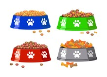 Vector Dog Bowl With Dog Footp...