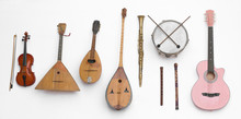 Set Of Musical Instruments Isolated On White Background