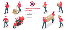 Isometric Icons Of Delivery Man And Woman Or Courier In A Medical Mask And Gloves Delivering Food To Customer At Home. Online Purchases During A Quarantine. Contactless Or To The Door Delivery.