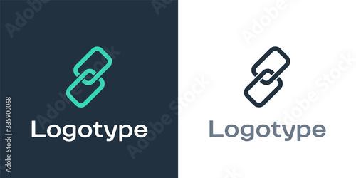 Fototapeta Logotype Chain link icon isolated on white background. Link single. Logo design template element. Vector Illustration obraz