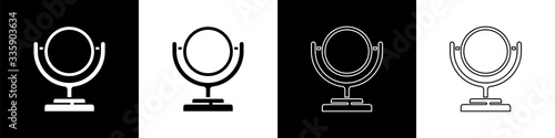 Set Round makeup mirror icon isolated on black and white background Fototapeta