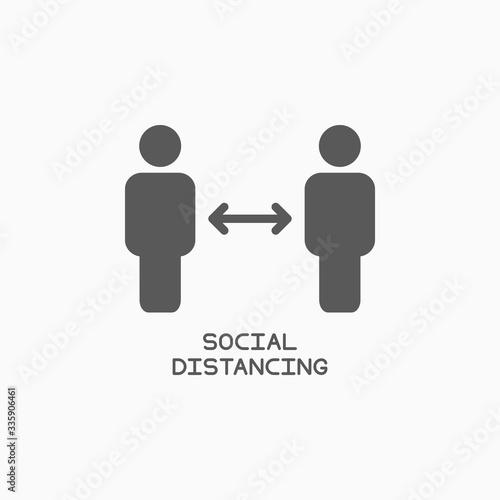 social distancing icon, safe distancing vector Wall mural