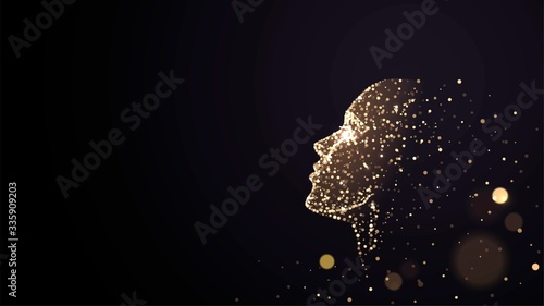 Human face on a black background of gold glowing particles Fototapet