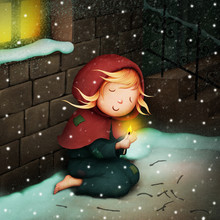 Fantasy Illustration For  Fairy Tale About  Little Girl Who Sold Matches.