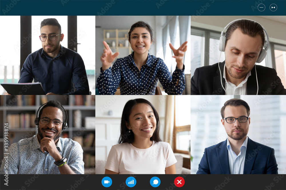Fototapeta Team working by group video call share ideas brainstorming negotiating use video conference, pc screen view six multi ethnic young people, application advertisement easy and comfortable usage concept