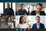 Team working by group video call share ideas brainstorming negotiating use video conference, pc screen view six multi ethnic young people, application advertisement easy and comfortable usage concept - 335918874