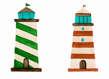 Lighthouses Green Red Watercol...