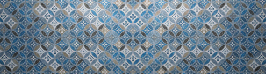 Panel Szklany Do kuchni Old gray anthracite blue vintage shabby patchwork mosaic motif tiles stone concrete cement wall texture background with circle print