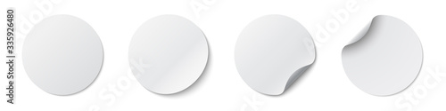 Circle adhesive symbols. White tags, paper round stickers with peeling corner and shadow, isolated rounded plastic mockup, realistic set round paper adhesive sticker mockup with curved corner