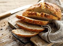 Homemade Sourdough Bread Cut I...