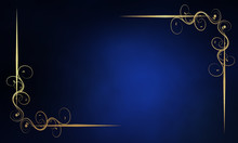 Royal Blue Background With Luxery Golden Ornaments