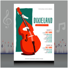 Elegant Electronic Dixieland Music Festival Flyer In Creative Style With Modern Sound Wave Shape Design