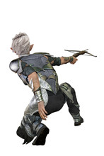 Elf Archer Man With Bow And Ar...