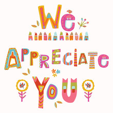 We Appreciate You To Care And Key Workers. Fight Corona Virus Covid 19 Motivational Message. Cheerful Thank You Quote Gratitude Clipart With Bright Floral Lettering. Stay Home Card For Social Media