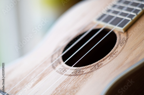 Closeup of a beatiful ashwood ukulele sitting by the window. Slika na platnu