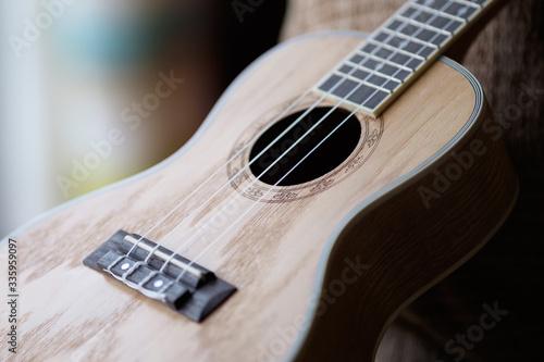 Beatiful ashwood ukulele sitting by the window Fototapeta