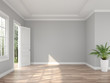 Leinwanddruck Bild - Classical style empty entrance hall 3d render,The rooms have wooden floors and gray walls ,decorate with white moulding,there are open door looking out to the balcony and nature view.
