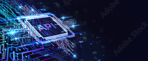 API - Application Programming Interface. Software development tool. Business, modern technology, internet and networking concept