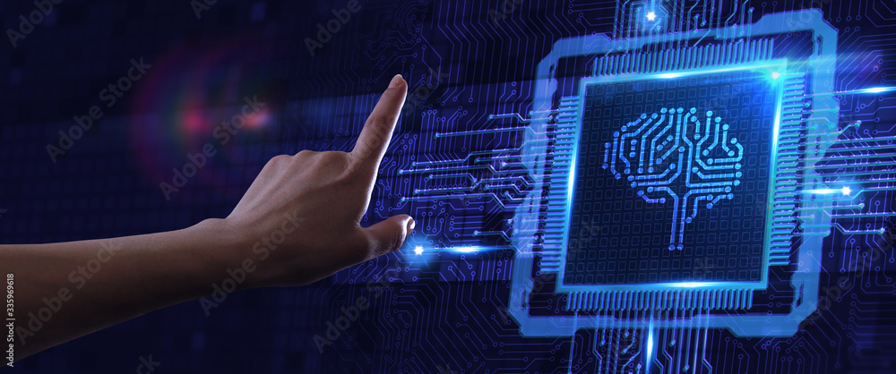 Fototapeta Artificial intelligence (AI), machine learning and modern computer technologies concepts. Business, Technology, Internet and network concept.