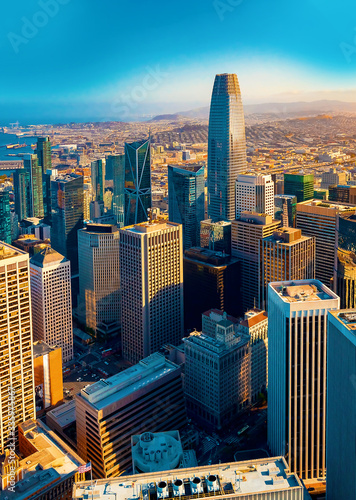 Fototapeta Downtown San Francisco aerial view of skyscrapers obraz