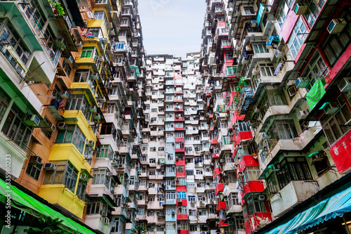 Poor and Densely Populated Housing Problem in Hong Kong Wallpaper Mural