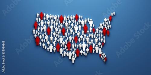 Valokuvatapetti USA pandemic map of people location