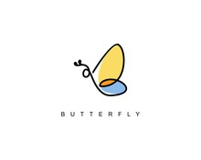 Line Abstract Butterfly Logo B...