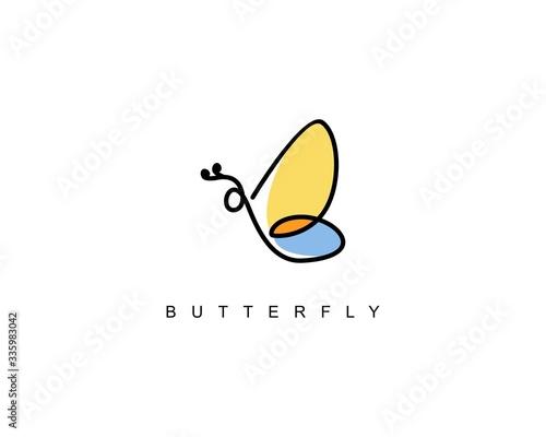 Obraz na plátně Line abstract butterfly logo beauty