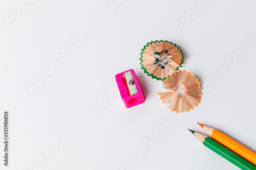 Fototapeta Color pencils with sharpener on white background. obraz na płótnie