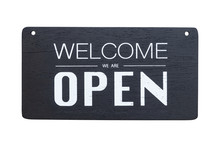 Welcome We Are Open Sign On Bl...
