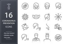 Coronavirus Line Icons Set. Black Vector Illustration. Editable Stroke.