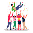 Happy guy celebrating birthday. Friends tossing mate in air flat vector illustration. Party, friendship, event, fun concept for banner, website design or landing web page