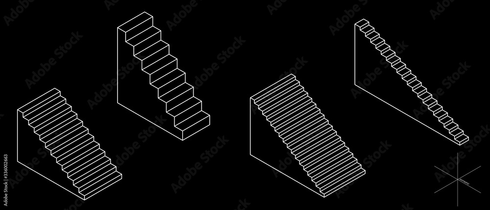 Fototapeta Stairway set. 3d Vector outline illustration. Isometric projection. Isolated on black background.