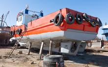 Old Rusty Orange Vessel Under ...