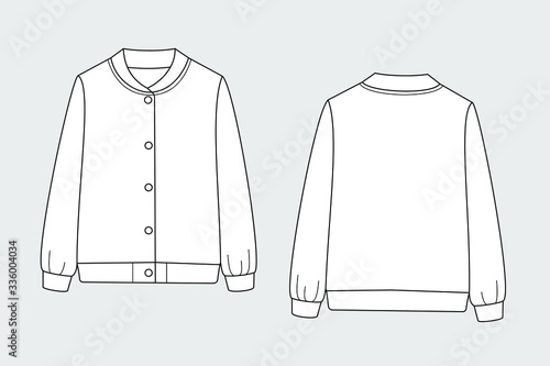 Photographie Bomber jacket vector template isolated set on a grey background
