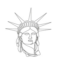 Statue Of Liberty Head In Single Line Style