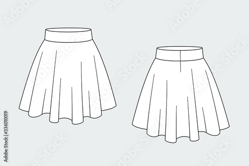 Fototapeta Female pleated skirt vector template isolated on a grey background