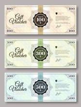 Set Of Gift Voucher Template Various Value - 100 Dollars, 300 Dollars And 500 Dollars. Gift Voucher Template With Guilloche Design Element. Vector Illustration.