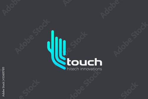 Foto Hand Touch Finger Logo click press touchscreen app vector design template linear outline style
