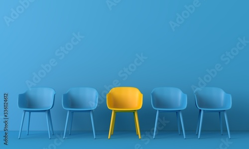 Fototapeta Yellow chair standing out from the crowd. Business concept. 3D rendering obraz
