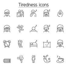 Tiredness, Sleepy Icons Set In Thin Line Style