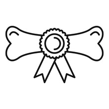 Dog Award Bone Icon. Outline Dog Award Bone Vector Icon For Web Design Isolated On White Background