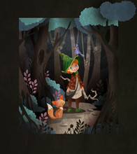 Fairy Tale Illustration Cute Little Boy Wizard In Front Of Night Forest With Magic Staff And Fox