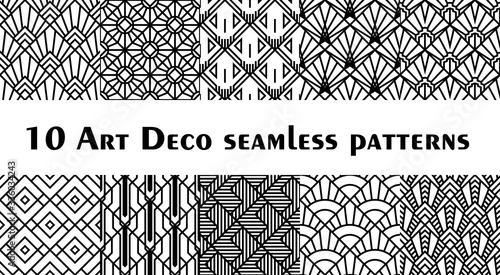 Set of 10 fish scale art deco style patterns. Retro style rhombus ornaments suitable for textile, wrapping paper, tiles and backgrounds.